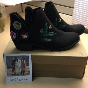 Embroidered Black Ankle Boots